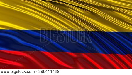 3d Render Of Colombia Flag For Memorial Day, Colombia Waving Flag, Independence Day.