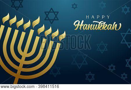 Happy Hanukkah, The Jewish Festival Of Lights, Festive Blue Background With Menorah, Golden Lights A