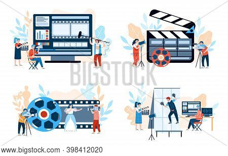 Movie Production Banners Set With Tiny People Characters Among Cameras And Film Shooting Equipment,