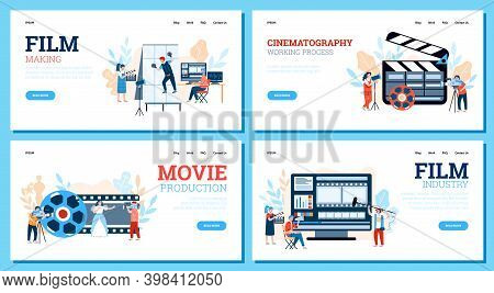 Set Of Website Banners For Filmmaking Industry With Professional Filmmakers And Cameraman, Flat Cart