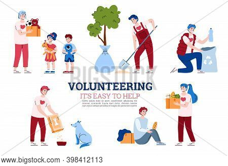 Banner With Concept Of Volunteering, Donation And Social Help. A Set Of Scenes With Volunteers Peopl