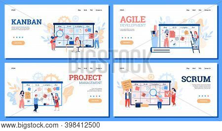 Set Of Website Banners For Scrum, Agile And Kanban Method Technology Of Development And Workflow Man