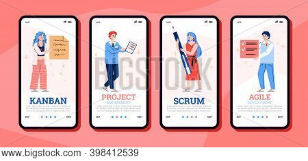 Set Of Onboarding Application Pages For Scrum, Agile And Kanban Method Technology Of Project Develop