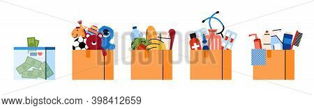 Donation Boxes For Charity With Goods And Food, Flat Vector Illustration Isolated On White Backgroun