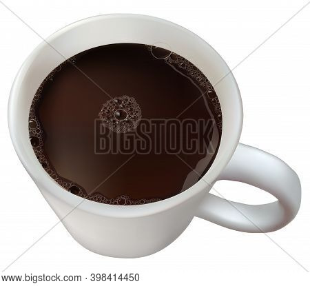 Realistic Coffee Cup. Top View Hot Chocolate With Foam, Isolated Breakfast Beverage. Froth Cocoa Dri