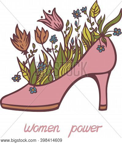 Vector Illustration Of High Heels With Blooming Flowers And