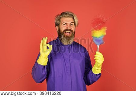 Cleaning Service. Cleaning Home Concept. Small Colorful Duster Broom. Housekeeping Duties. Cleaning