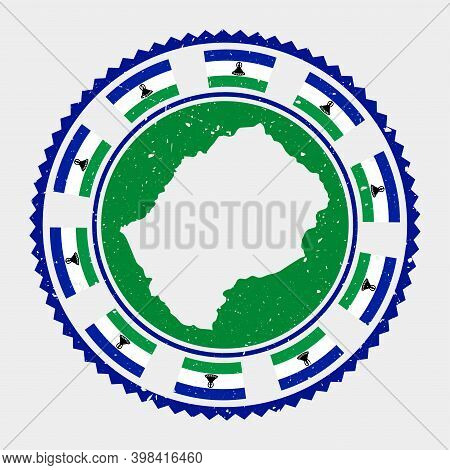 Lesotho Grunge Stamp. Round Logo With Map And Flag Of Lesotho. Country Stamp. Vector Illustration.