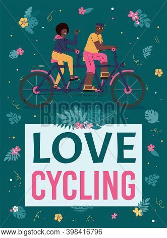 Colorful Poster With Couple Man And Woman Loving Cycling. Riding Bike Together Outdoors, Family Acti