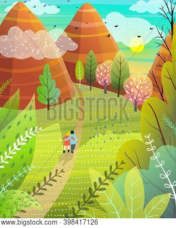 Illustrated Summer Escape To Nature With Hills And Mountains Couple Walking On Road. Cute Hand Drawn