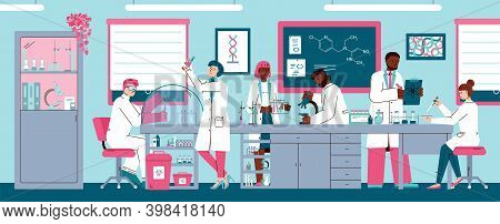 Scientists Men And Women Working In Chemical Or Pharmaceutical Research Laboratory, Flat Cartoon Vec