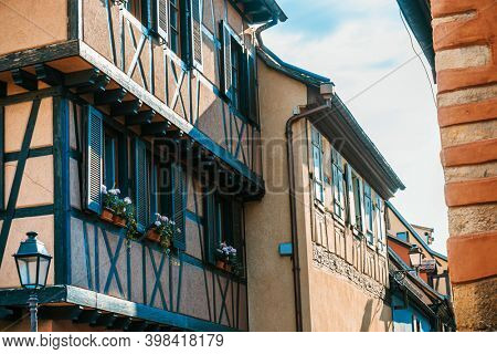 Street view of ancient buildings in Strasbourg, Alsace, France