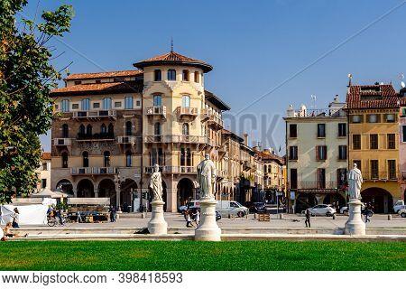 Padua, Italy - October 2 2017: Building On Prato Della Valle Square In Sunny Day.