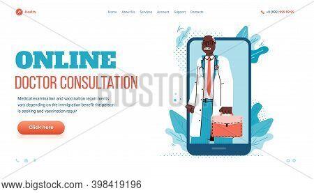 Online Doctor Consultation Website Mockup With Cartoon Doctor On Smartphone Screen, Flat Vector Illu