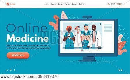 Online Medicine Website Mockup With Doctors On Computer Monitor, Cartoon Vector Illustration. Online