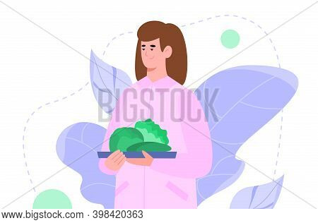 Woman Cartoon Character Holding Plate With Green Vegetables, Flat Cartoon Vector Illustration Isolat