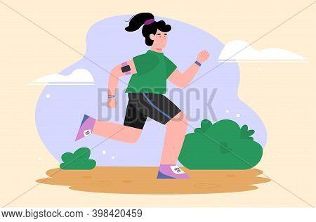 Young Beautiful Woman Jogging In The Park, Flat Cartoon Vector Illustration. Young Girl Cartoon Char