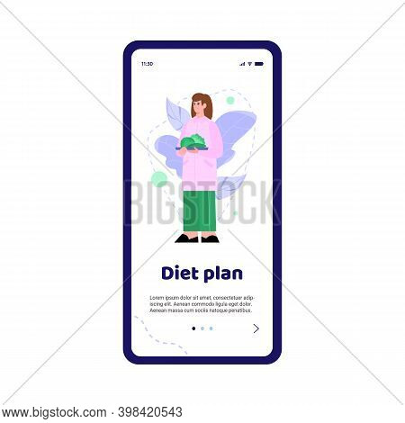 Doctor Nutritionist With Plan Diet On Mobile Phone Screen. Dietitian Give Recommendations On Nutriti