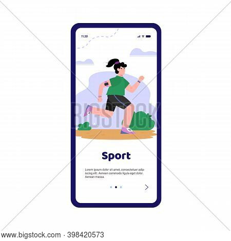 Mobile Phone Screen With Woman Running In Park Or Nature Outdoors. The Girl Goes In For Sports For L