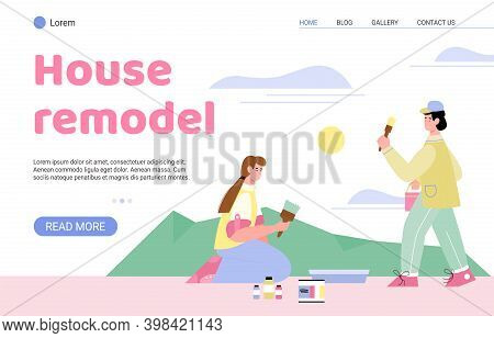 House Remodel Website Page Template With Craftsmen Or Painters Renovating Home Interior, Flat Vector
