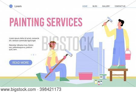 Painting Services Web Page Design With Cartoon Characters Of Working Craftsmen, Flat Vector Illustra