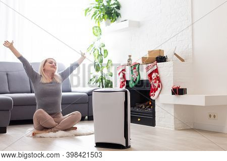 Coronavirus Panic, Air Purifier In A Living Room, Humidification Air In Apartment During Period Self