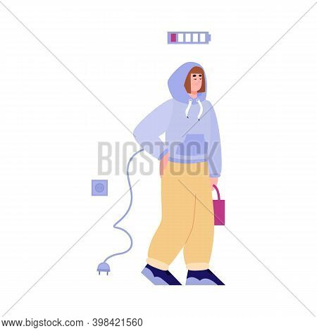 Vector Flat Isolated Illustration Of A Tired Unplug From Socket Sad Woman Who Needing A Charge Of En