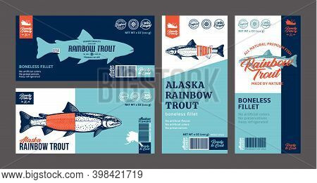 Vector Trout Labels And Design Elements