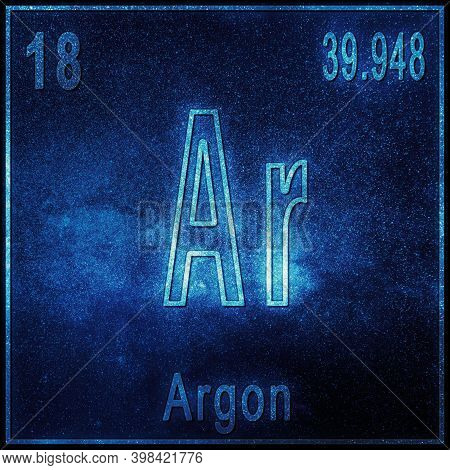 Argon Chemical Element, Sign With Atomic Number And Atomic Weight, Periodic Table Element