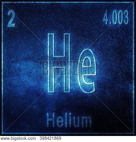 Helium Chemical Element, Sign With Atomic Number And Atomic Weight, Periodic Table Element