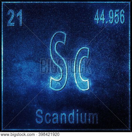 Scandium Chemical Element, Sign With Atomic Number And Atomic Weight, Periodic Table Element