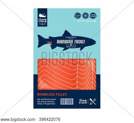 Vector Trout Packaging Design Concept. Modern Style Seafood Packaging Illustration. Trout Fillet In