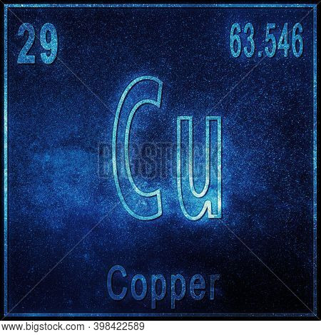 Copper Chemical Element, Sign With Atomic Number And Atomic Weight, Periodic Table Element