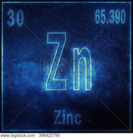 Zinc Chemical Element, Sign With Atomic Number And Atomic Weight, Periodic Table Element