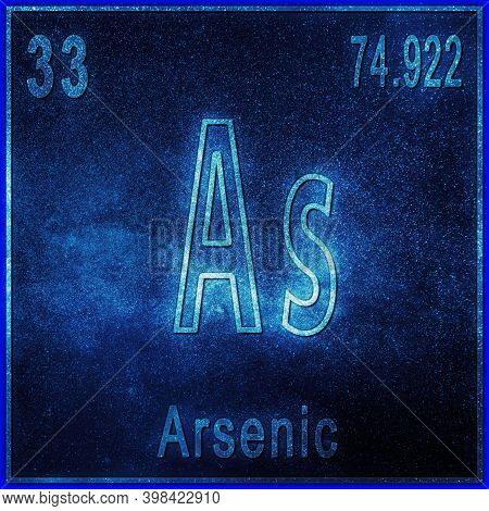 Arsenic Chemical Element, Sign With Atomic Number And Atomic Weight, Periodic Table Element