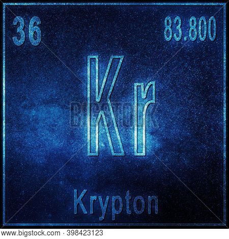 Krypton Chemical Element, Sign With Atomic Number And Atomic Weight, Periodic Table Element