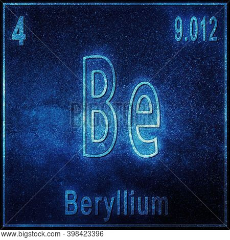 Beryllium Chemical Element, Sign With Atomic Number And Atomic Weight, Periodic Table Element