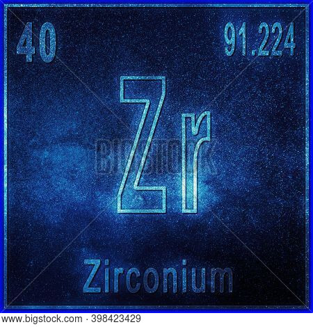 Zirconium Chemical Element, Sign With Atomic Number And Atomic Weight, Periodic Table Element