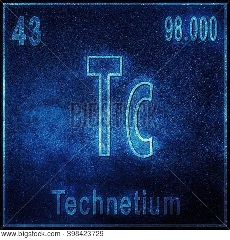 Technetium Chemical Element, Sign With Atomic Number And Atomic Weight, Periodic Table Element