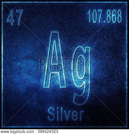 Silver Chemical Element, Sign With Atomic Number And Atomic Weight, Periodic Table Element