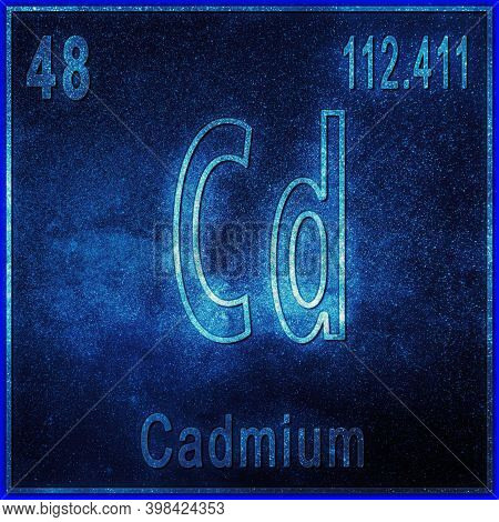 Cadmium Chemical Element, Sign With Atomic Number And Atomic Weight, Periodic Table Element