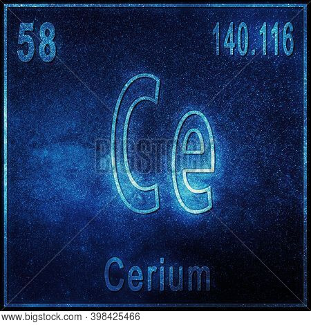 Cerium Chemical Element, Sign With Atomic Number And Atomic Weight, Periodic Table Element