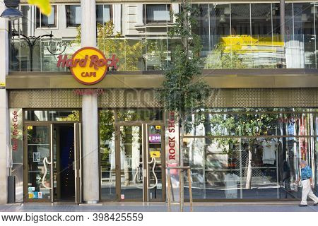 Valencia Spain. September 27, 2020: Entrance To The Hard Rock Cafe Store And Restaurant And Its Uppe