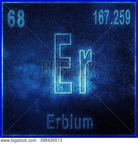 Erbium Chemical Element, Sign With Atomic Number And Atomic Weight, Periodic Table Element