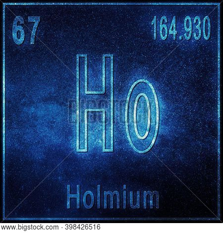 Holmium Chemical Element, Sign With Atomic Number And Atomic Weight, Periodic Table Element