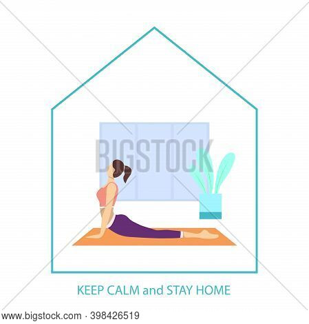 Stay Home, Be Safe. A Young Girl Does Yoga At Home. During The Coronavirus Epidemic, Stay At Home In