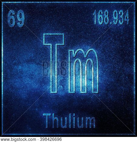 Thulium Chemical Element, Sign With Atomic Number And Atomic Weight, Periodic Table Element