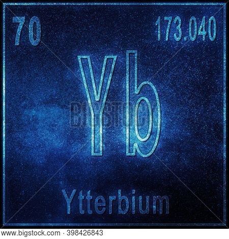 Ytterbium Chemical Element, Sign With Atomic Number And Atomic Weight, Periodic Table Element