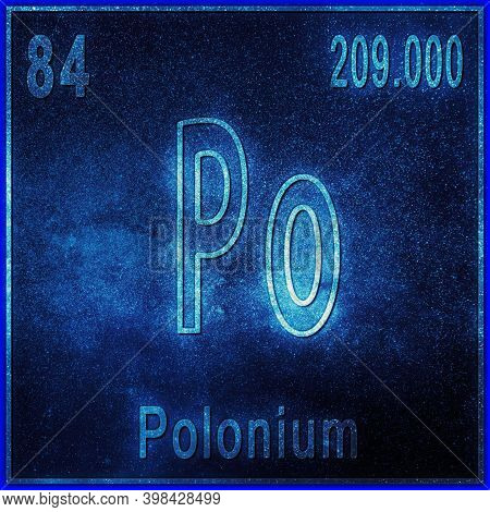 Polonium Chemical Element, Sign With Atomic Number And Atomic Weight, Periodic Table Element