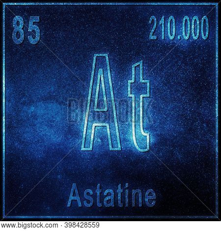 Astatine Chemical Element, Sign With Atomic Number And Atomic Weight, Periodic Table Element